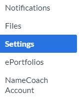 Account menu showing Files, Settings, ePortfolios and NameCoach Account